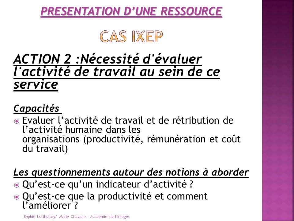 ACTION 2 :Nécessité d'évaluer l'activité de travail au sein de ce service Capacités Evaluer lactivité de travail et de rétribution de lactivité humain