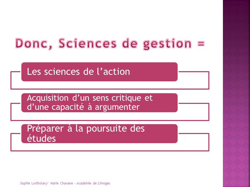 Les sciences de laction Acquisition dun sens critique et dune capacité à argumenter Préparer à la poursuite des études Sophie Lortholary/ Marie Chavan