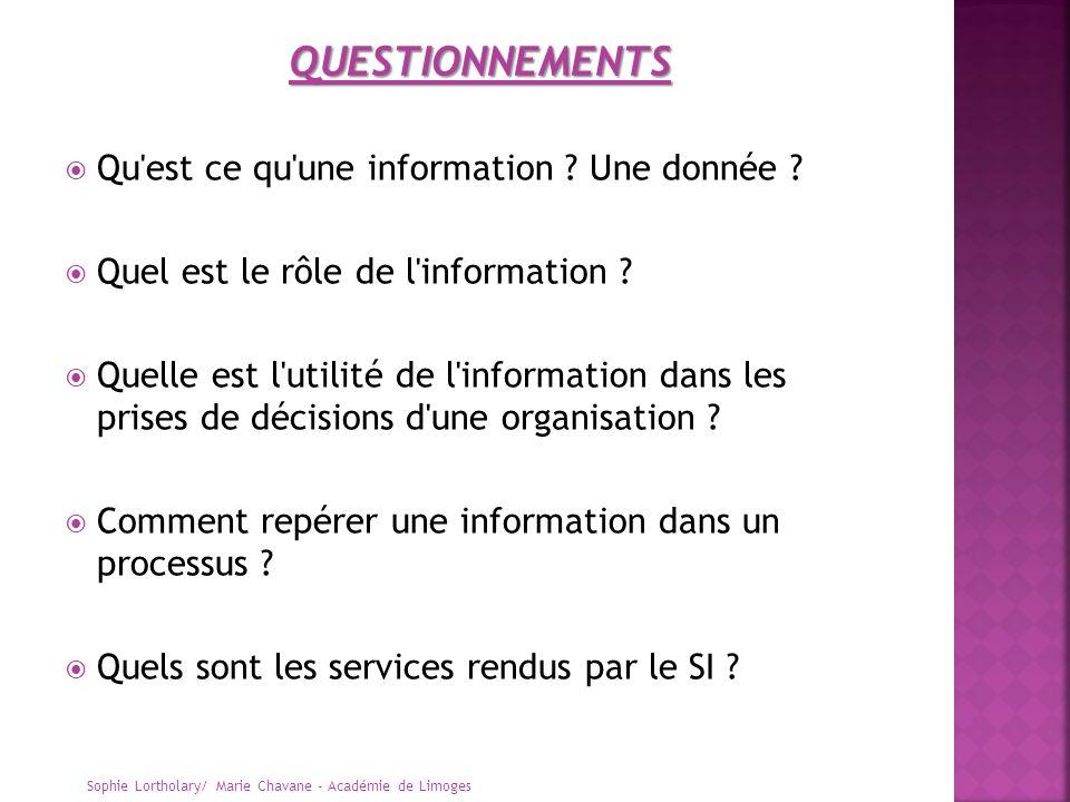Qu'est ce qu'une information ? Une donnée ? Quel est le rôle de l'information ? Quelle est l'utilité de l'information dans les prises de décisions d'u