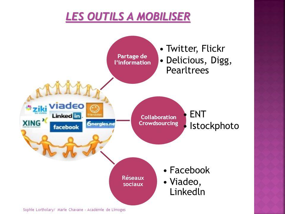 Partage de linformation Twitter, Flickr Delicious, Digg, Pearltrees Collaboration Crowdsourcing ENT Istockphoto Réseaux sociaux Facebook Viadeo, Linke