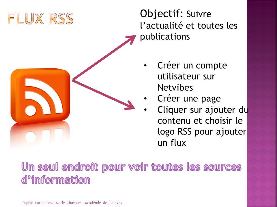 Sophie Lortholary/ Marie Chavane - Académie de Limoges Objectif: Suivre lactualité et toutes les publications Créer un compte utilisateur sur Netvibes