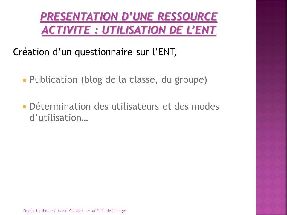 Création dun questionnaire sur lENT, Publication (blog de la classe, du groupe) Détermination des utilisateurs et des modes dutilisation… Sophie Lorth