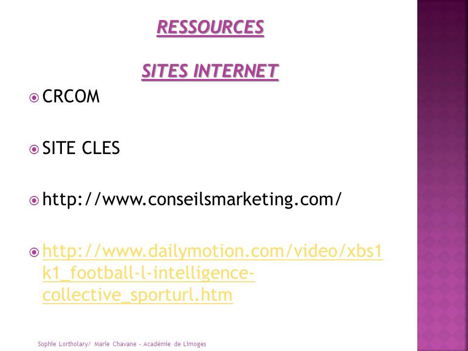 CRCOM SITE CLES http://www.conseilsmarketing.com/ http://www.dailymotion.com/video/xbs1 k1_football-l-intelligence- collective_sporturl.htm http://www