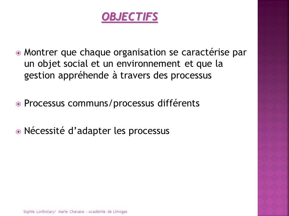 Montrer que chaque organisation se caractérise par un objet social et un environnement et que la gestion appréhende à travers des processus Processus