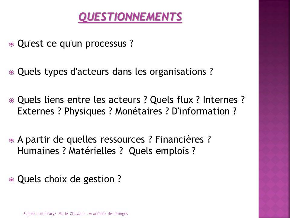 Qu'est ce qu'un processus ? Quels types d'acteurs dans les organisations ? Quels liens entre les acteurs ? Quels flux ? Internes ? Externes ? Physique