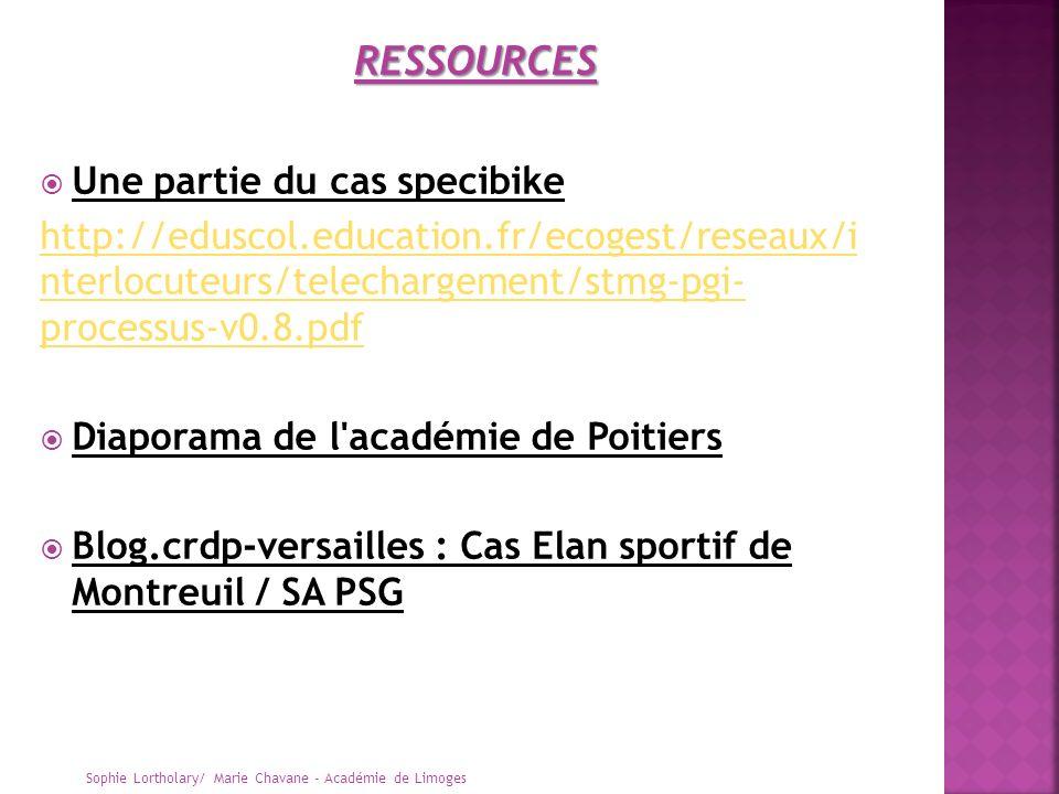 Une partie du cas specibike http://eduscol.education.fr/ecogest/reseaux/i nterlocuteurs/telechargement/stmg-pgi- processus-v0.8.pdf Diaporama de l'aca