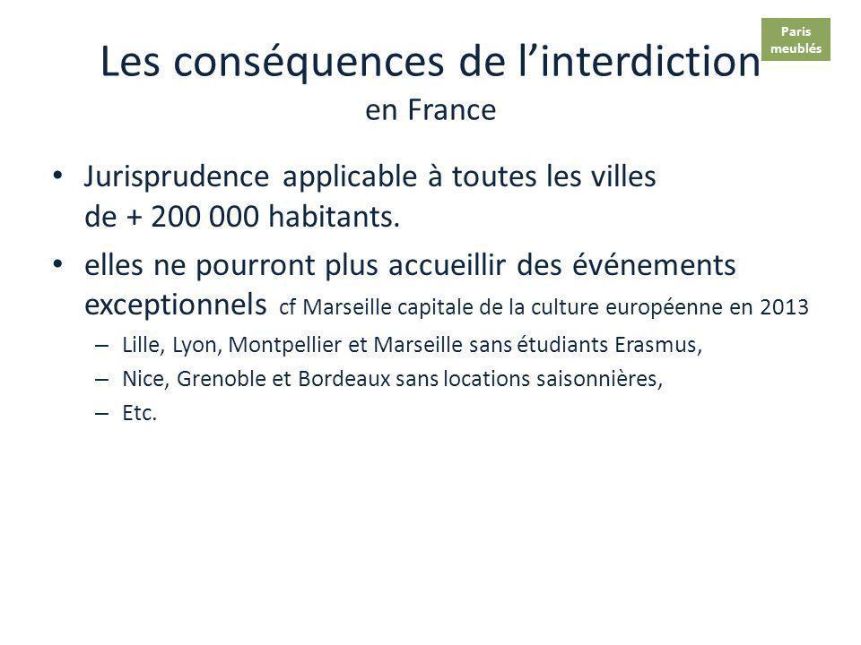 Les conséquences de linterdiction A Paris Perte de 2 100 emplois (11 00 emplois directs + 1000 induits) alors que le secteur est florissant (cf Aulnay