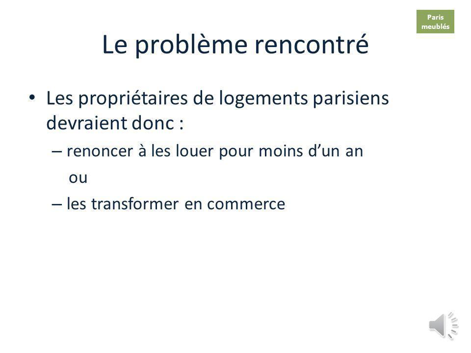Le problème rencontré Dans toutes les villes de France, tous les logements y compris les meublés sont considérés comme biens à usage dhabitation A Par