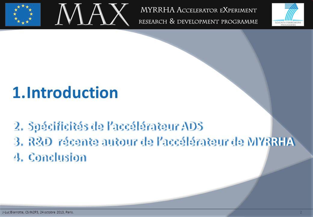 2 1.Introduction 2.Spécificités de laccélérateur ADS2.Spécificités de laccélérateur ADS 3.R&D récente autour de laccélérateur de MYRRHA3.R&D récente a