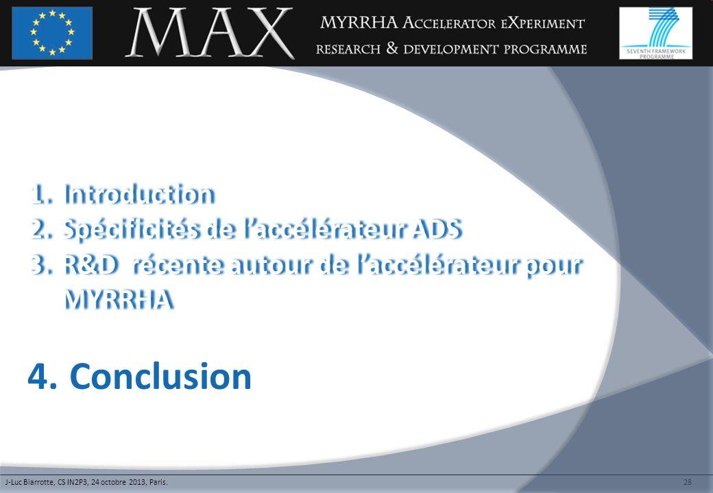 28 1.Introduction1.Introduction 2.Spécificités de laccélérateur ADS2.Spécificités de laccélérateur ADS 3.R&D récente autour de laccélérateur pour MYRR