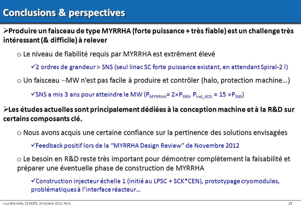 29 J-Luc Biarrotte, CS IN2P3, 24 octobre 2013, Paris. Conclusions & perspectives Produire un faisceau de type MYRRHA (forte puissance + très fiable) e