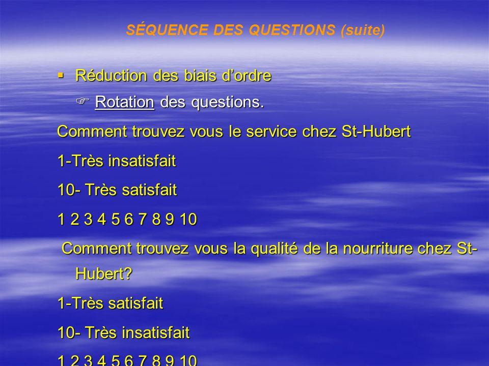 Réduction des biais dordre Réduction des biais dordre Rotation des questions. Rotation des questions. Comment trouvez vous le service chez St-Hubert 1