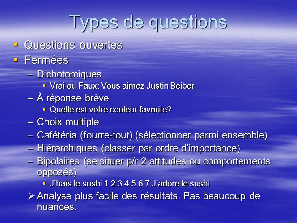 Types de questions Questions ouvertes Questions ouvertes Fermées Fermées –Dichotomiques Vrai ou Faux: Vous aimez Justin Beiber Vrai ou Faux: Vous aime