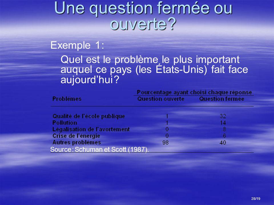 Une question fermée ou ouverte ? Exemple 1 : Quel est le problème le plus important auquel ce pays (les États-Unis) fait face aujourdhui ? Source : Sc