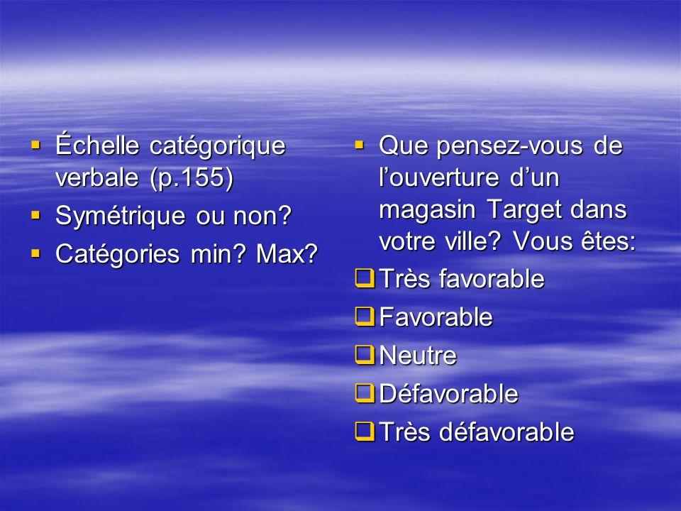 Échelle catégorique verbale (p.155) Échelle catégorique verbale (p.155) Symétrique ou non? Symétrique ou non? Catégories min? Max? Catégories min? Max