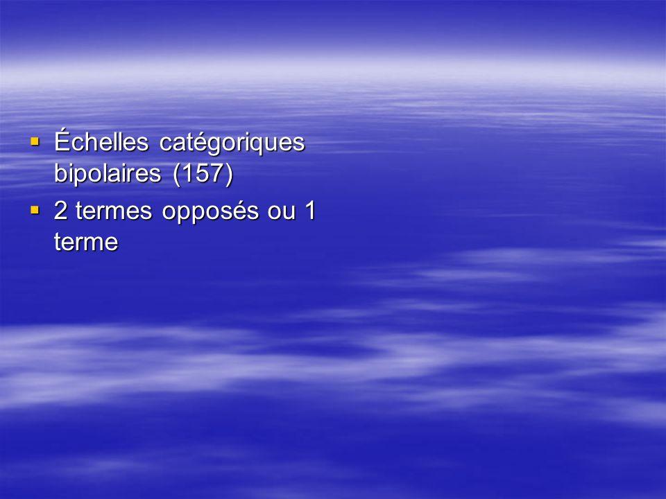 Échelles catégoriques bipolaires (157) Échelles catégoriques bipolaires (157) 2 termes opposés ou 1 terme 2 termes opposés ou 1 terme