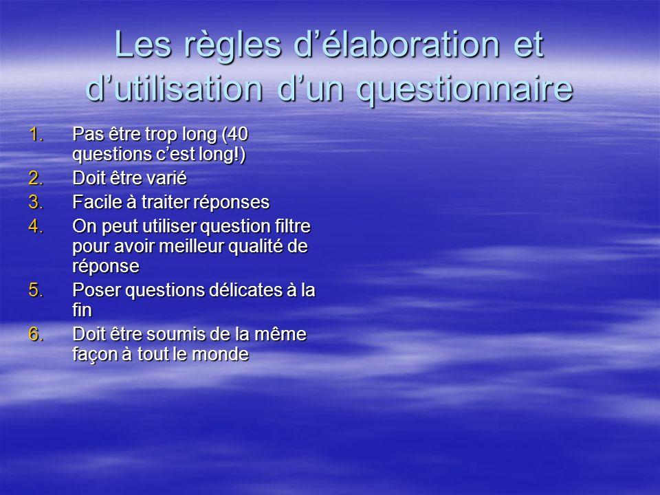 Les règles délaboration et dutilisation dun questionnaire 1.Pas être trop long (40 questions cest long!) 2.Doit être varié 3.Facile à traiter réponses