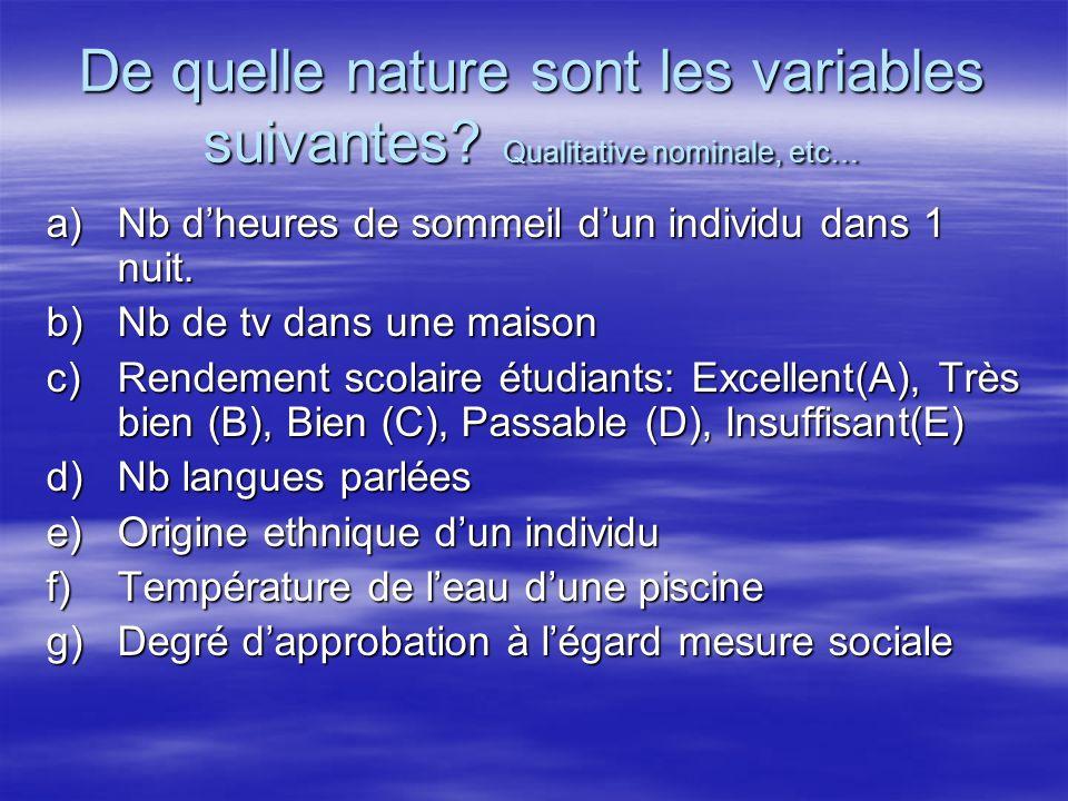 De quelle nature sont les variables suivantes? Qualitative nominale, etc… a)Nb dheures de sommeil dun individu dans 1 nuit. b)Nb de tv dans une maison