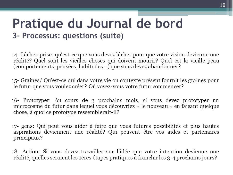 Pratique du Journal de bord 3- Processus: questions (suite) 14- Lâcher-prise: quest-ce que vous devez lâcher pour que votre vision devienne une réalit
