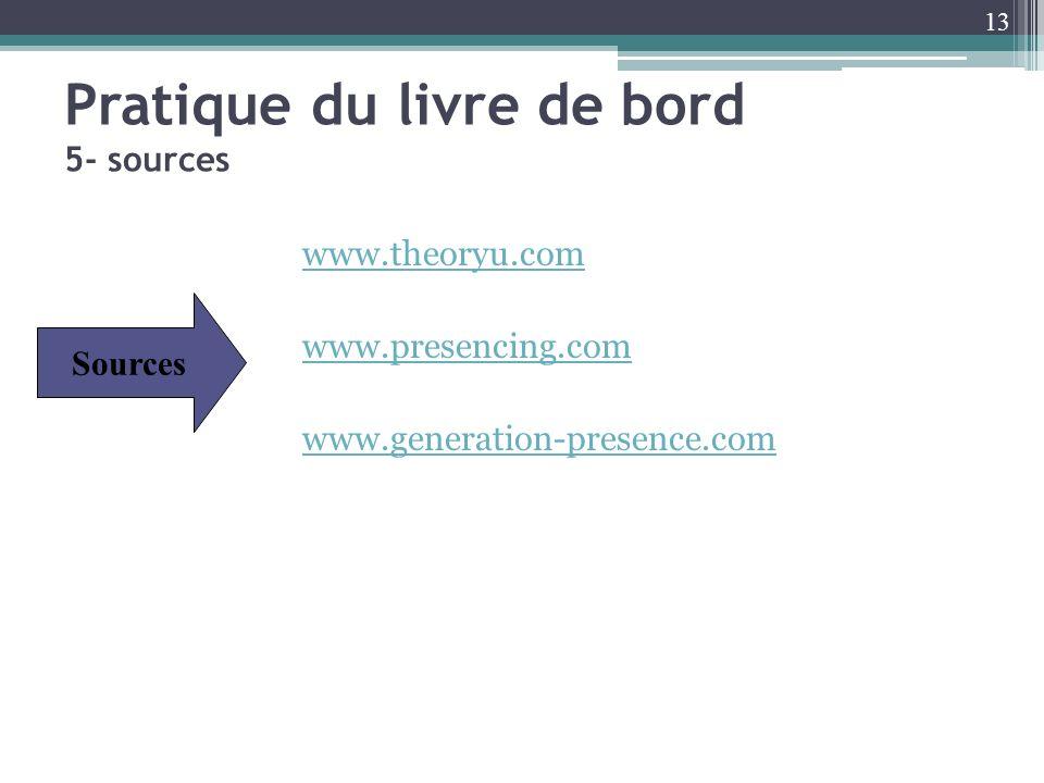 Pratique du livre de bord 5- sources www.theoryu.com www.presencing.com www.generation-presence.com Sources 13