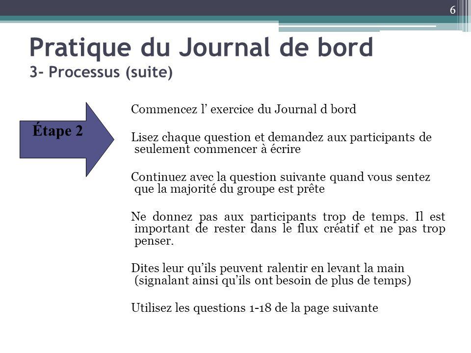 Pratique du Journal de bord 3- Processus (suite) Commencez l exercice du Journal d bord Lisez chaque question et demandez aux participants de seulemen