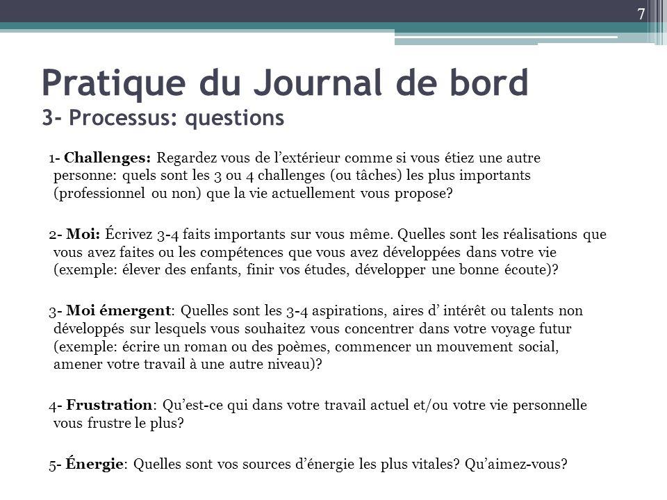 Pratique du Journal de bord 3- Processus: questions 1- Challenges: Regardez vous de lextérieur comme si vous étiez une autre personne: quels sont les