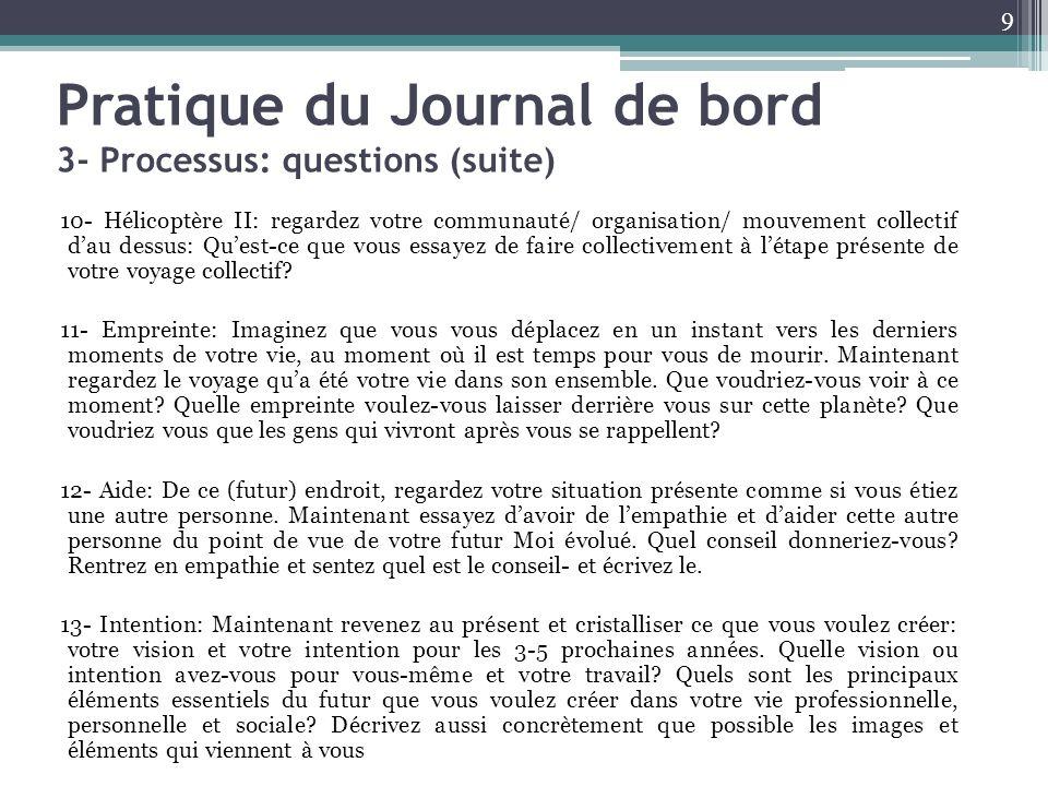 Pratique du Journal de bord 3- Processus: questions (suite) 10- Hélicoptère II: regardez votre communauté/ organisation/ mouvement collectif dau dessu
