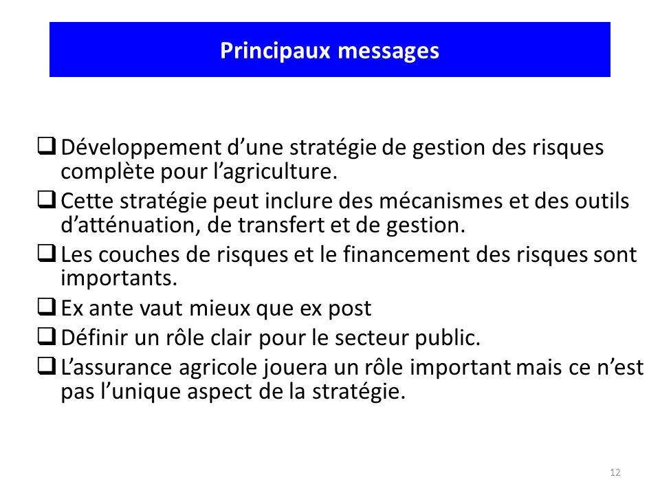 12 Développement dune stratégie de gestion des risques complète pour lagriculture. Cette stratégie peut inclure des mécanismes et des outils datténuat