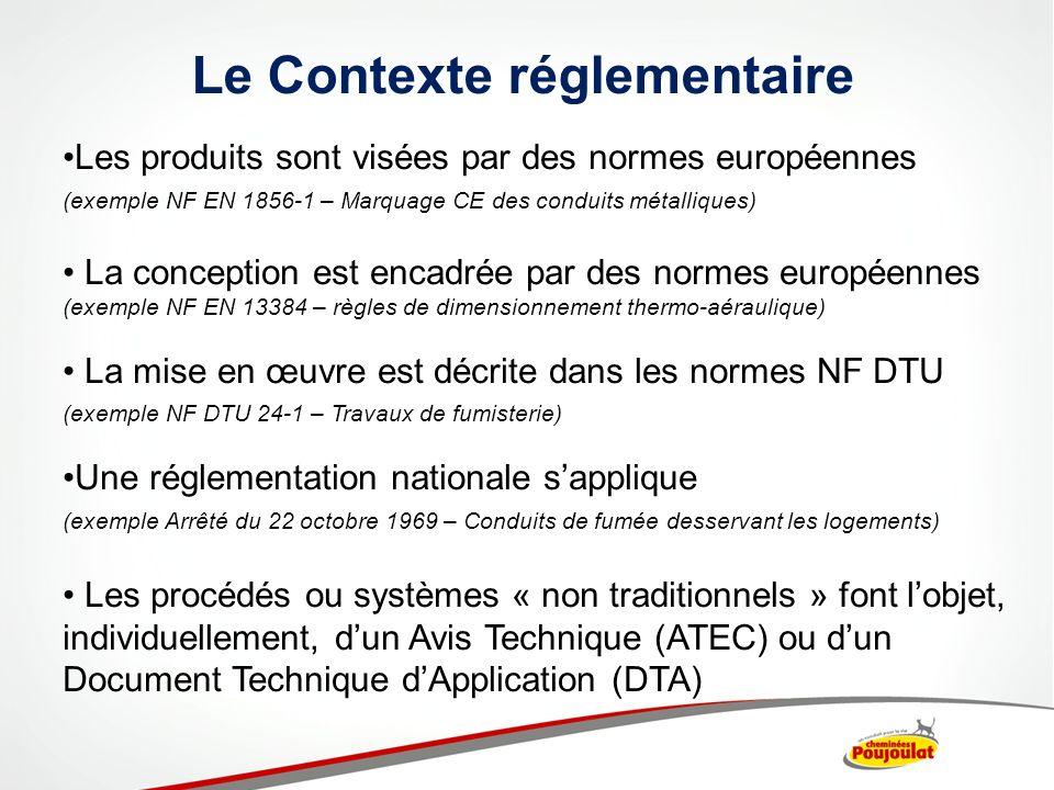 Le Contexte réglementaire Les produits sont visées par des normes européennes (exemple NF EN 1856-1 – Marquage CE des conduits métalliques) La concept
