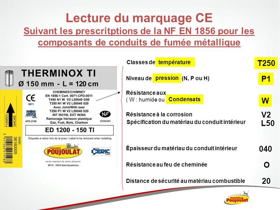 Lecture du marquage CE Suivant les prescritptions de la NF EN 1856 pour les composants de conduits de fumée métallique Résistance aux ( W : humide ou