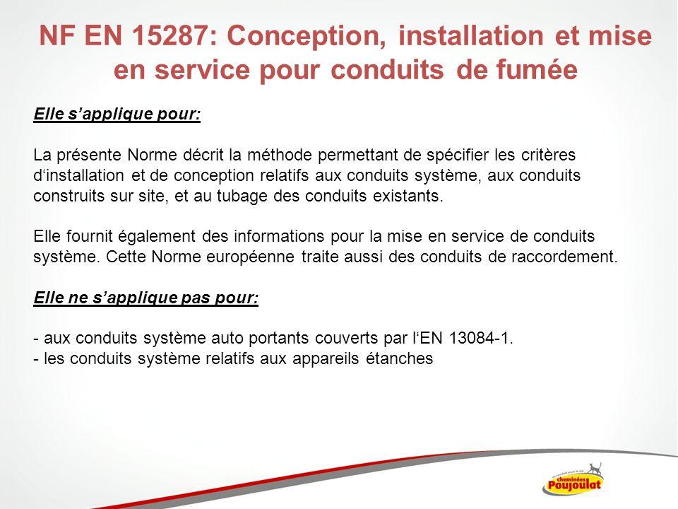 NF EN 15287: Conception, installation et mise en service pour conduits de fumée Décomposée en 2 parties: Partie 1 – Conduits de fumée pour chaudières non étanches (Décembre 2007) Partie 2 – Conduits de fumée pour chaudières étanches (P<70kW) (Mai 2008) Le NF DTU 61.1 prend le relai