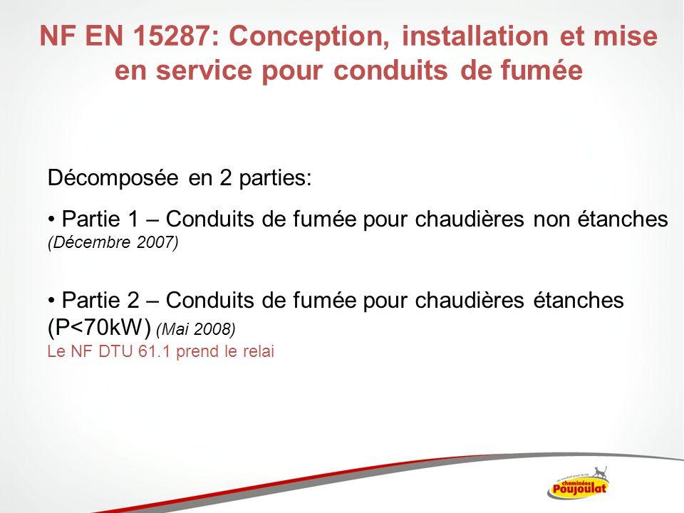 NF EN 15287-1: Conception de conduits de fumée pour chaudières non étanches Trois types douvrages sont traités : Conduits systèmes: visés par le NF DTU 24.1 pour les conduits métalliques Conduits tubés: visés par le NF DTU 24.1 pour les conduits métalliques Conduits construits sur site: non visé par le NF DTU 24.1