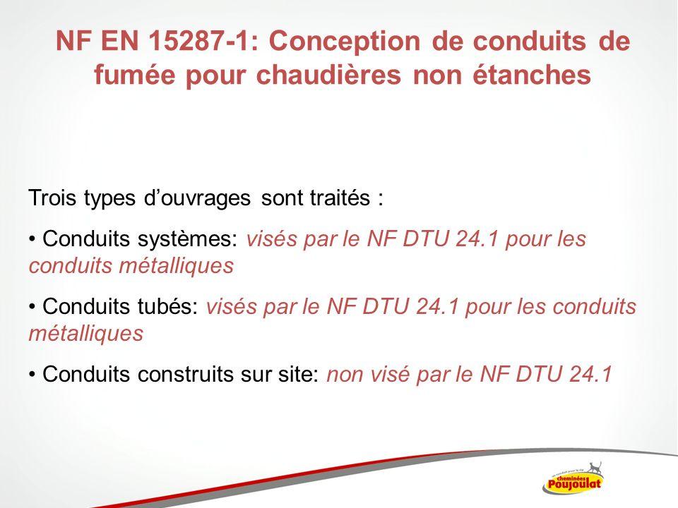 NF EN 15287-1: Conception de conduits de fumée pour chaudières non étanches Trois types douvrages sont traités : Conduits systèmes: visés par le NF DT
