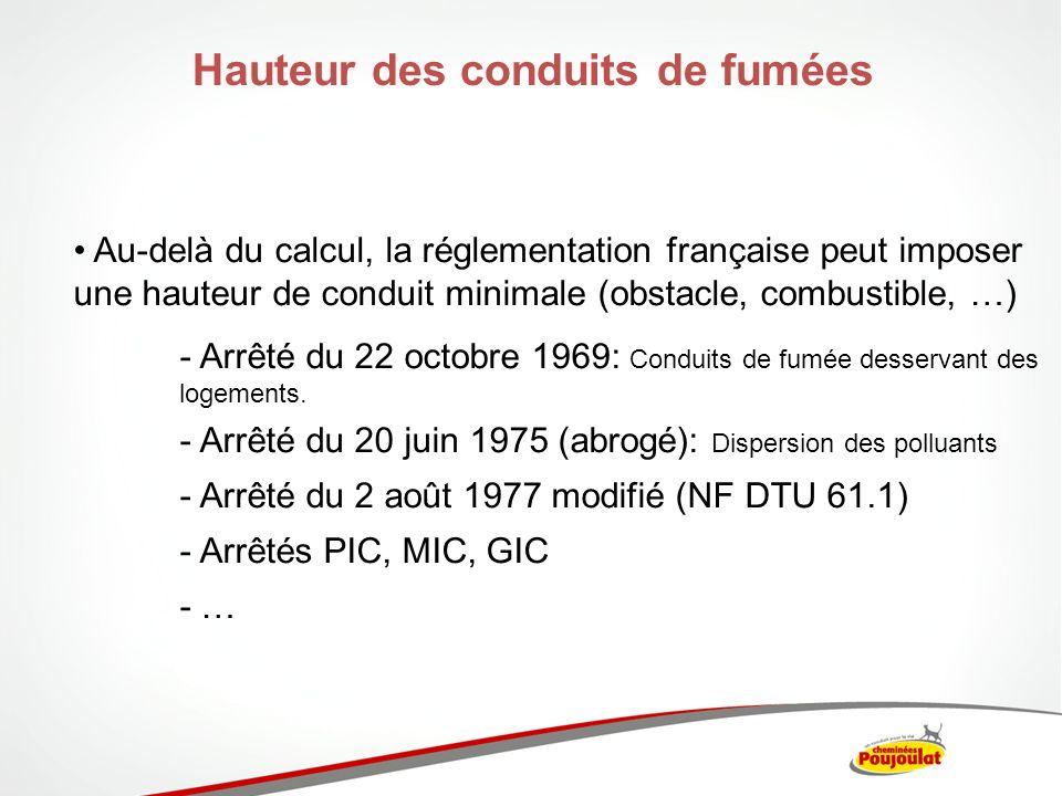 Hauteur des conduits de fumées Au-delà du calcul, la réglementation française peut imposer une hauteur de conduit minimale (obstacle, combustible, …)