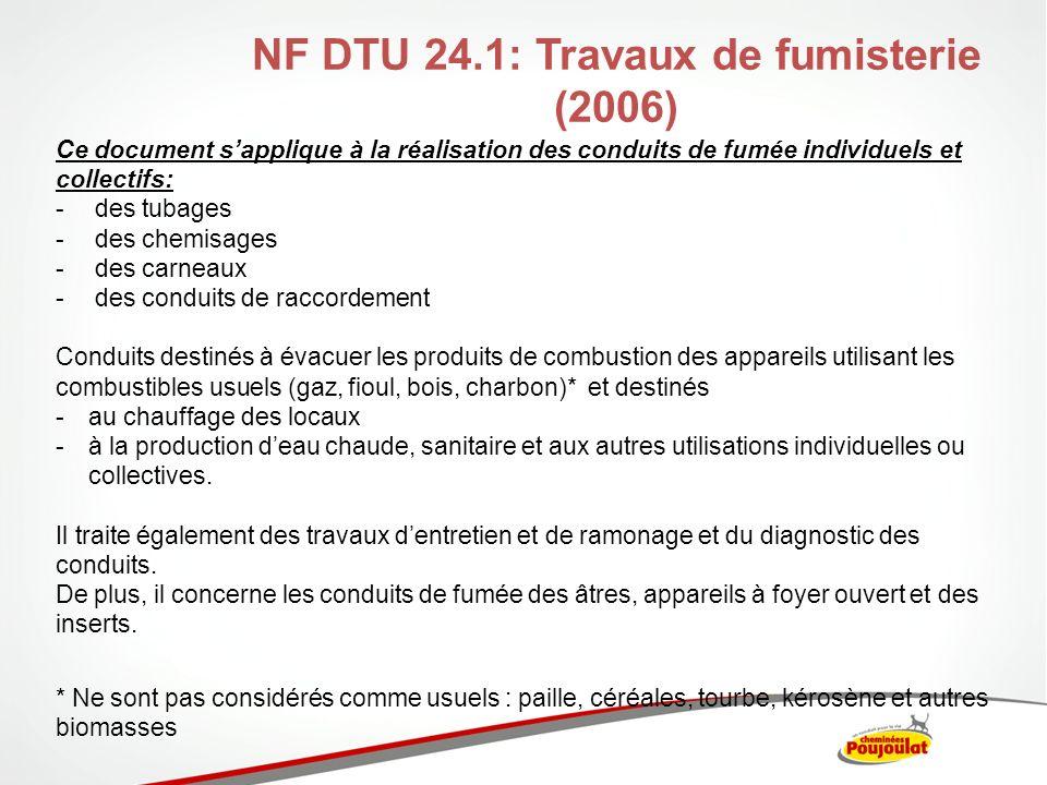 NF DTU 24.1: Travaux de fumisterie (2006) Ce document sapplique à la réalisation des conduits de fumée individuels et collectifs: -des tubages -des ch