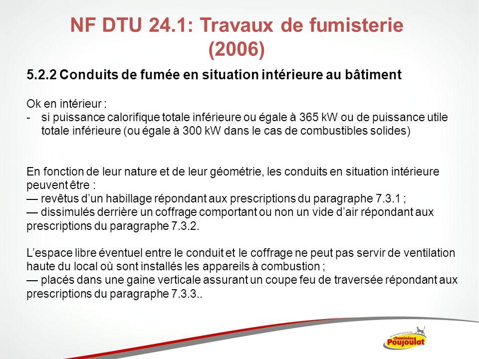 NF DTU 24.1: Travaux de fumisterie (2006) 5.2.2 Conduits de fumée en situation intérieure au bâtiment Ok en intérieur : -si puissance calorifique tota
