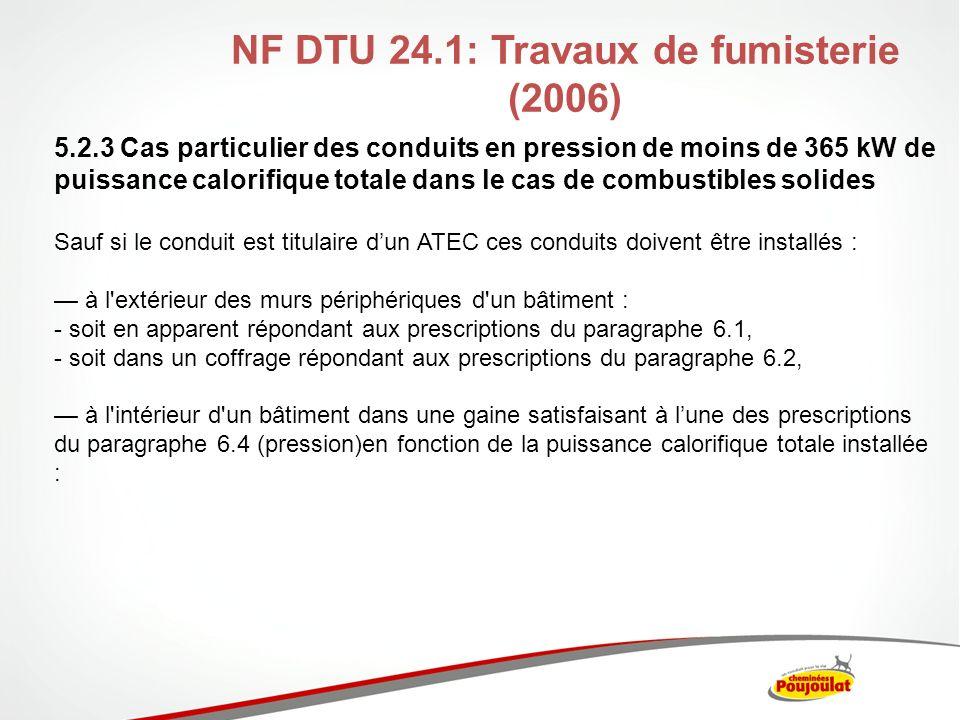 NF DTU 24.1: Travaux de fumisterie (2006) 5.2.3 Cas particulier des conduits en pression de moins de 365 kW de puissance calorifique totale dans le ca