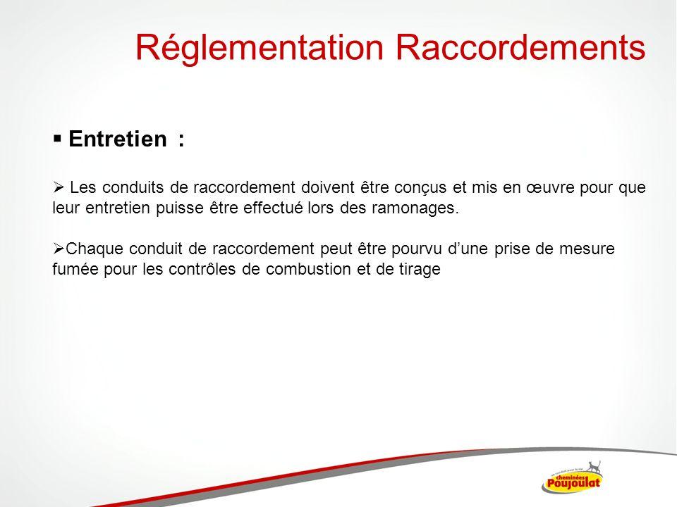Réglementation Raccordements Entretien : Les conduits de raccordement doivent être conçus et mis en œuvre pour que leur entretien puisse être effectué
