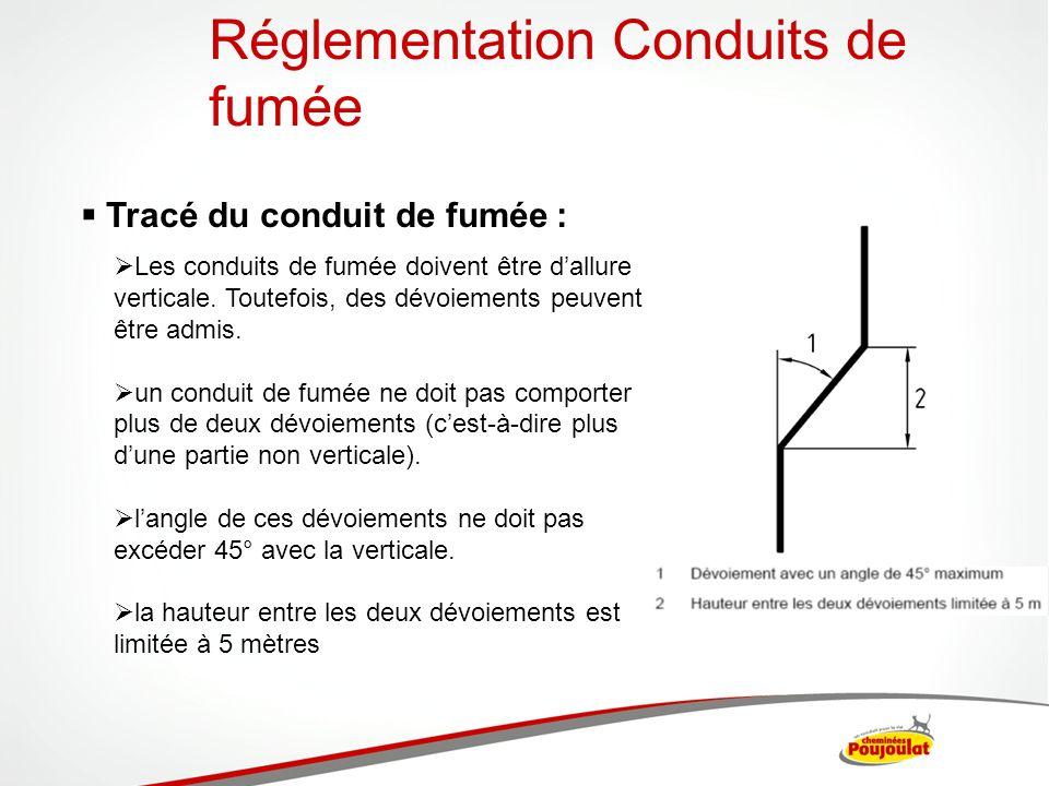 Tracé du conduit de fumée : Les conduits de fumée doivent être dallure verticale. Toutefois, des dévoiements peuvent être admis. un conduit de fumée n