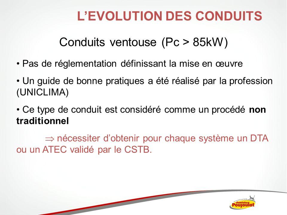 Conduits ventouse (Pc > 85kW) LEVOLUTION DES CONDUITS