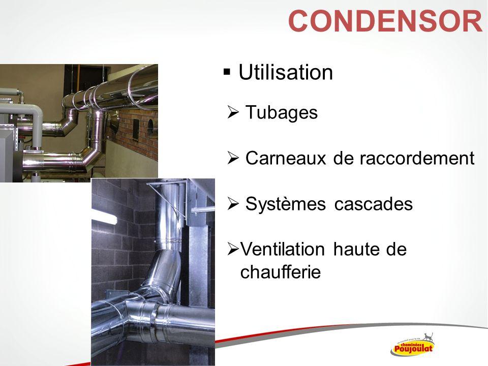 CONDENSOR Utilisation Tubages Carneaux de raccordement Systèmes cascades Ventilation haute de chaufferie