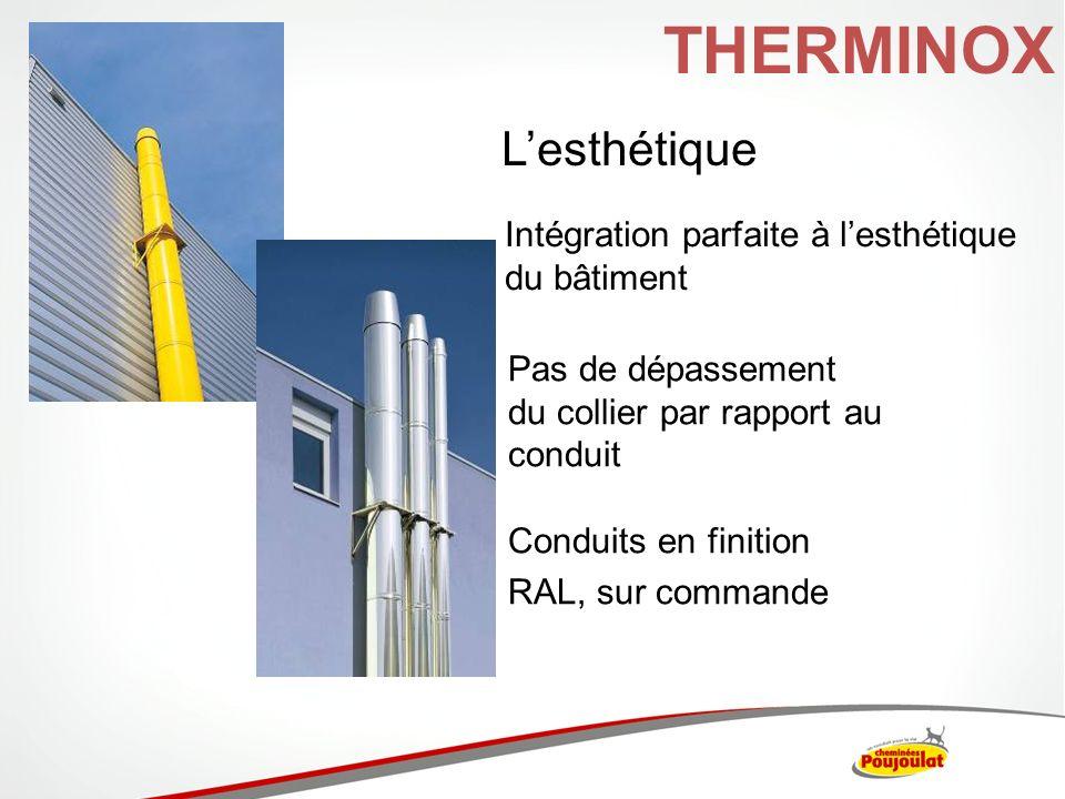 Lesthétique Intégration parfaite à lesthétique du bâtiment Pas de dépassement du collier par rapport au conduit Conduits en finition RAL, sur commande
