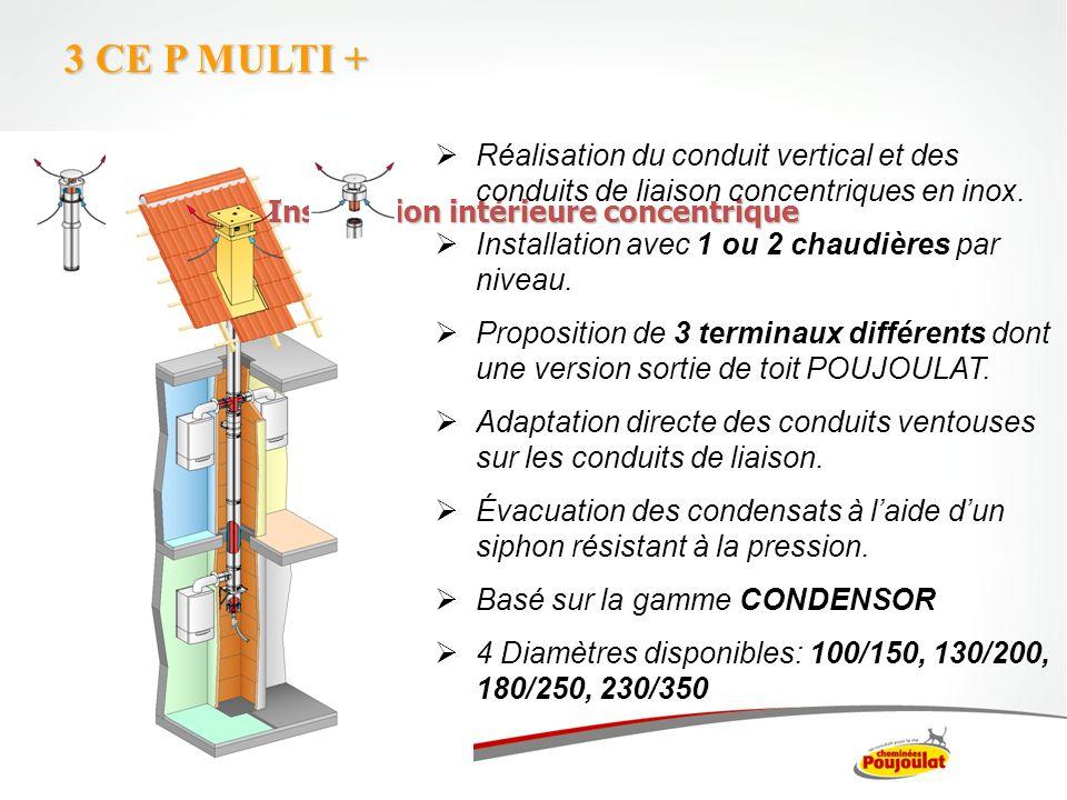 Installation intérieure concentrique 3 CE P MULTI + Réalisation du conduit vertical et des conduits de liaison concentriques en inox. Installation ave