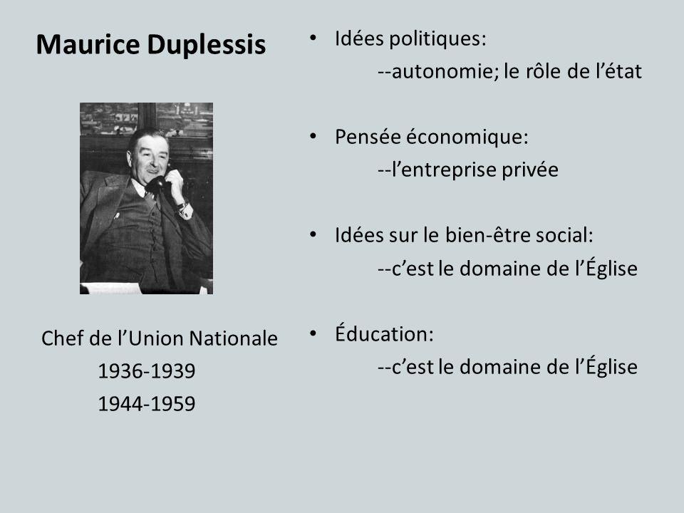 Maurice Duplessis Idées politiques: --autonomie; le rôle de létat Pensée économique: --lentreprise privée Idées sur le bien-être social: --cest le dom