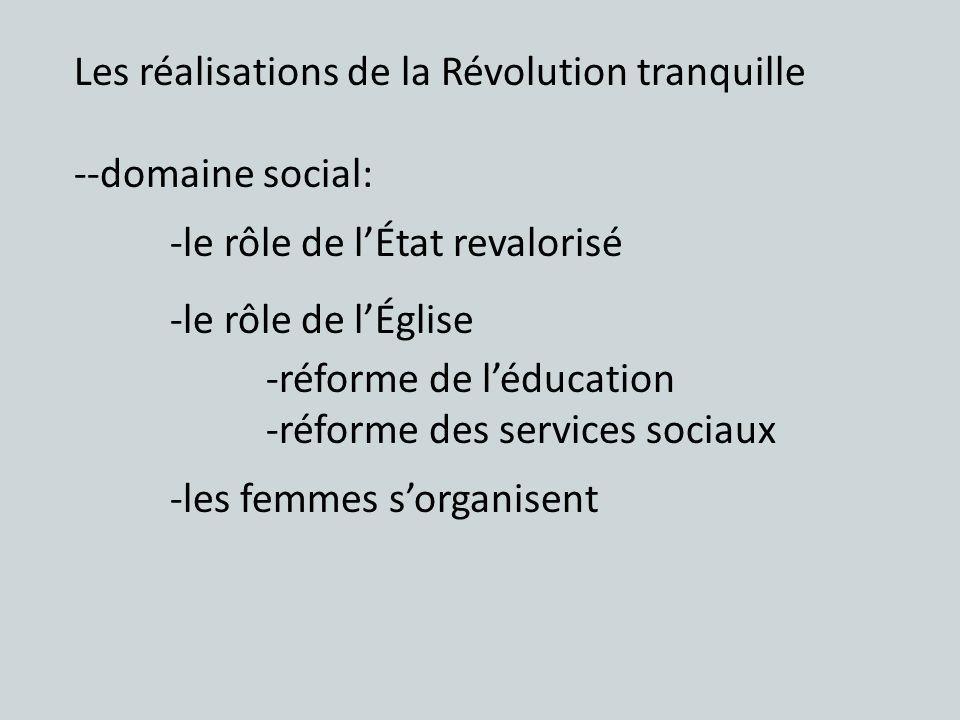 Les réalisations de la Révolution tranquille --domaine social: -le rôle de lÉtat revalorisé -le rôle de lÉglise -réforme de léducation -réforme des se