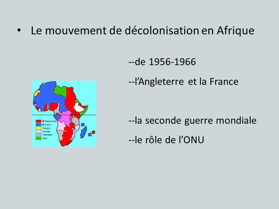 Le mouvement de décolonisation en Afrique --de 1956-1966 --lAngleterre et la France --la seconde guerre mondiale --le rôle de lONU