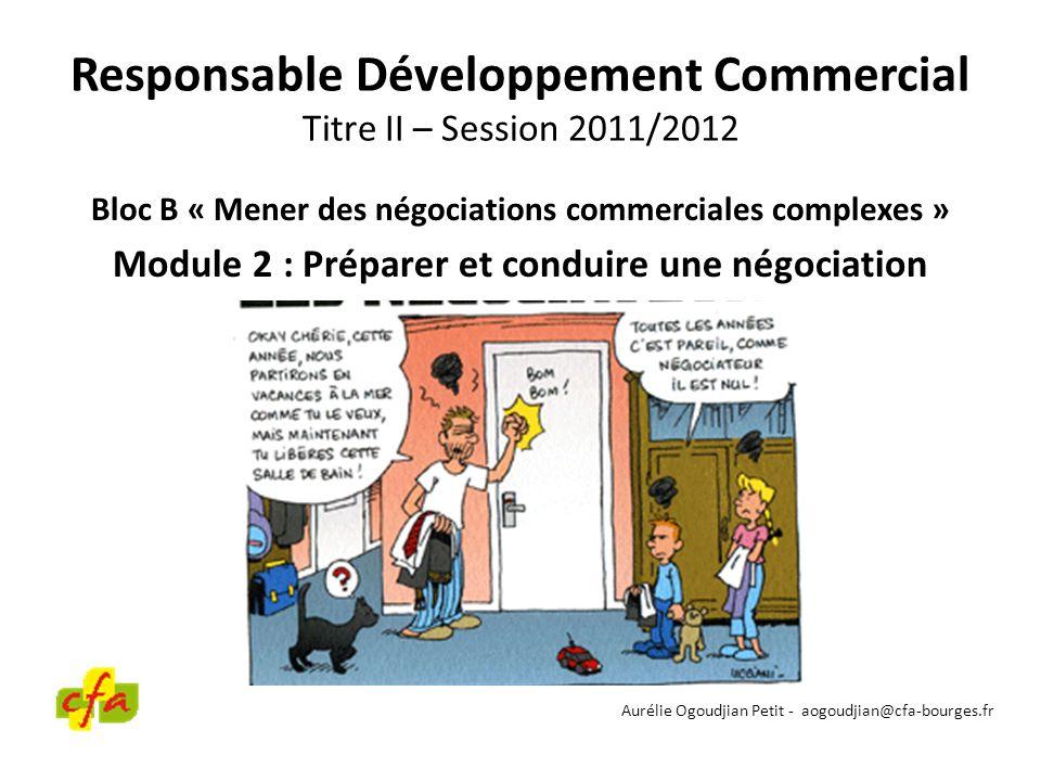 Responsable Développement Commercial Titre II – Session 2011/2012 Bloc B « Mener des négociations commerciales complexes » Module 2 : Préparer et cond