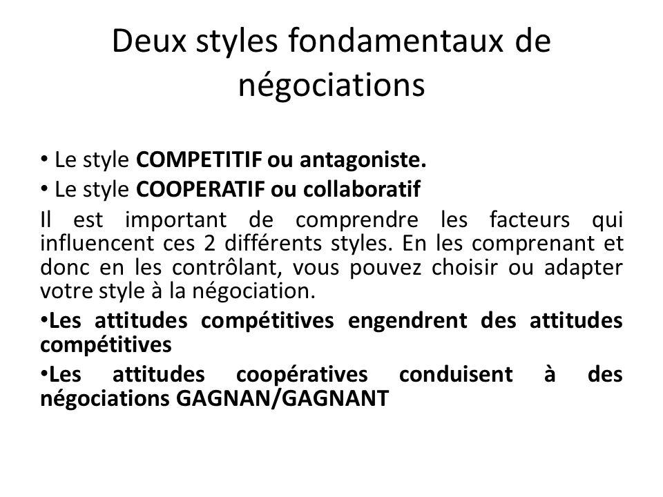 Deux styles fondamentaux de négociations Le style COMPETITIF ou antagoniste. Le style COOPERATIF ou collaboratif Il est important de comprendre les fa
