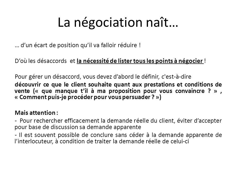La négociation naît… … dun écart de position quil va falloir réduire ! Doù les désaccords et la nécessité de lister tous les points à négocier ! Pour