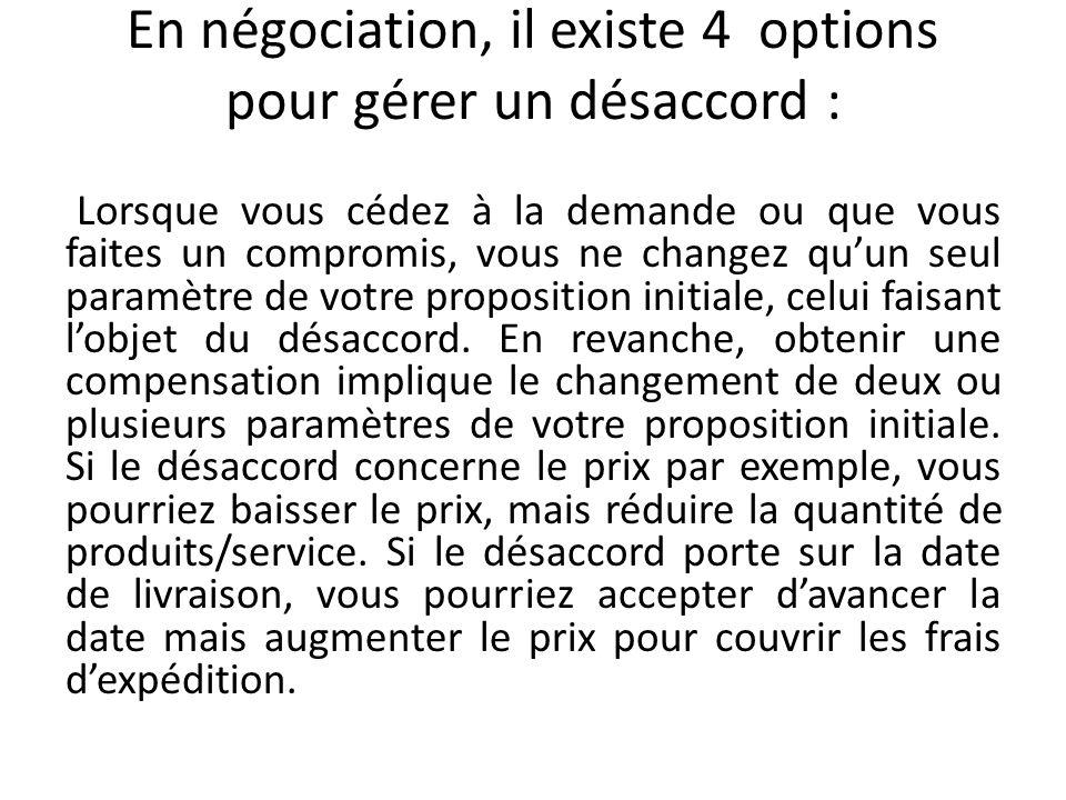 En négociation, il existe 4 options pour gérer un désaccord : Lorsque vous cédez à la demande ou que vous faites un compromis, vous ne changez quun se